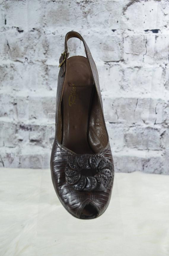 vintage 1940s 40s Rikes brown reptile skin croc s… - image 2