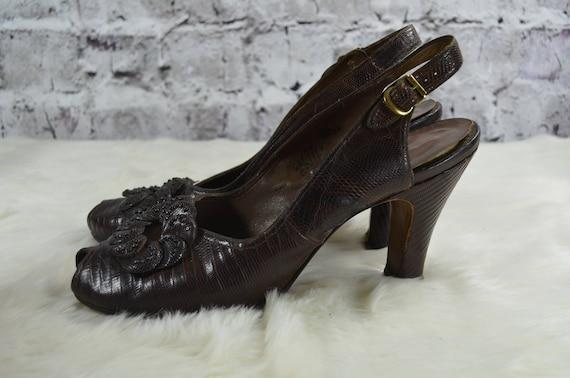 vintage 1940s 40s Rikes brown reptile skin croc s… - image 6