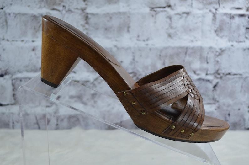 5c98fc6130 Vintage 70s 80s Updates Womens Wood Leather Slides Sandals 9 | Etsy