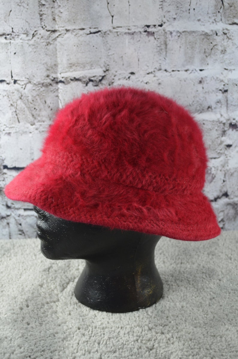 d21f7a0ec1115 Vintage Kangol Design red angora blend slouch bucket hat red