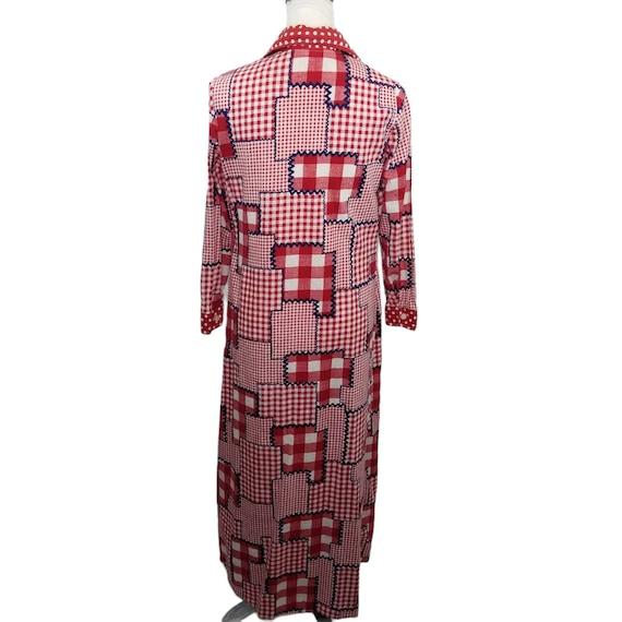 Vtg 60s patchwork gingham long sleeve maxi dress - image 2