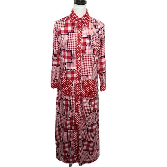 Vtg 60s patchwork gingham long sleeve maxi dress - image 1