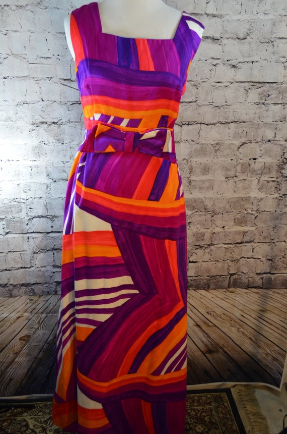 Vintage 1960s 60s abstract striped dayglo psychede