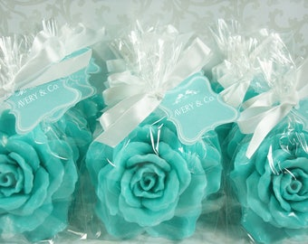 10 tiffany blue rose soap favors for bridal shower favors baby showers party favors