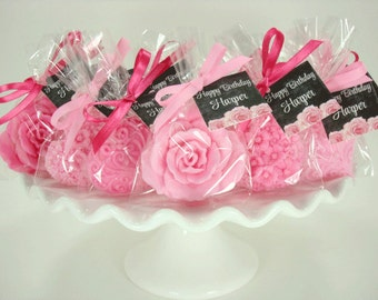 Bridal Shower Favors - Pinks- Soap Favors - Decorative Hearts & Roses