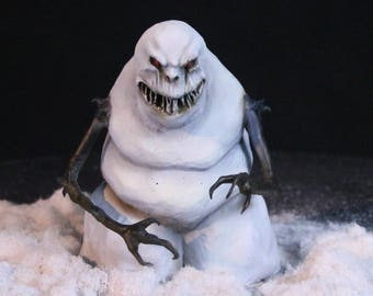 Evil Snowman Sculpture Figurine Krampus Nightmare Before Christmas Halloween Decoration