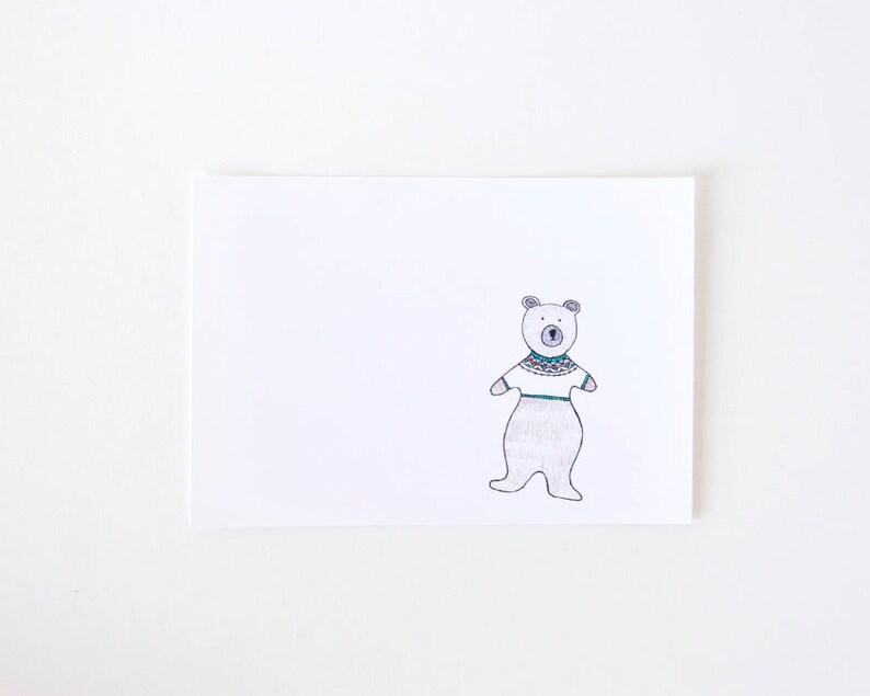 Cute Animal Drawing  Simple Bear Art Print  Bear Wears a image 0