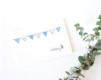 Cute Birthday Card - Simple Bunting and Cupcake Drawing - Happy Birthday Cupcake