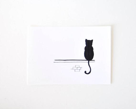 Dibujo De Gato Impresión Del Arte Del Simple Blanco Y Negro Etsy