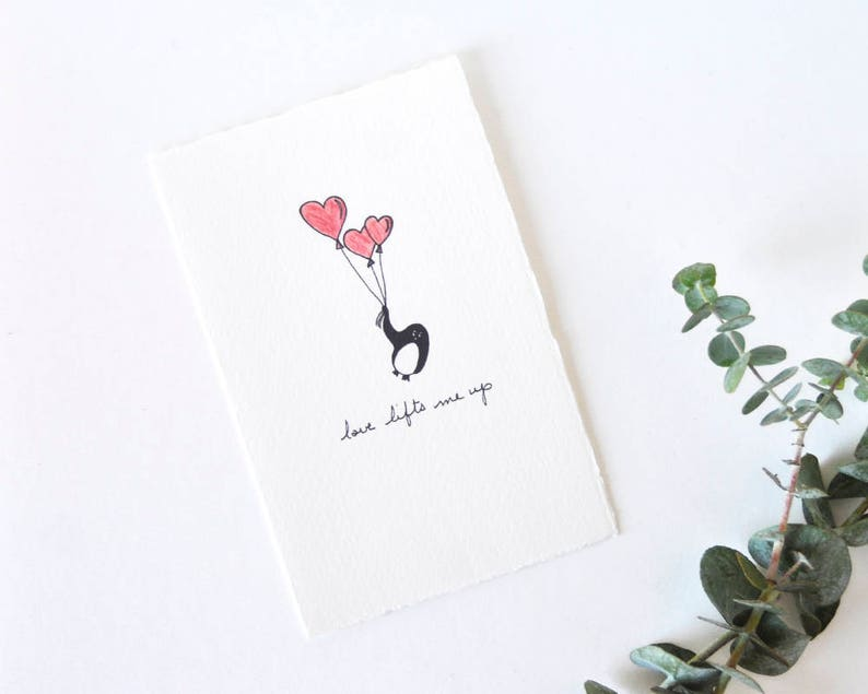 cute love card valentine simple penguin drawing with heart