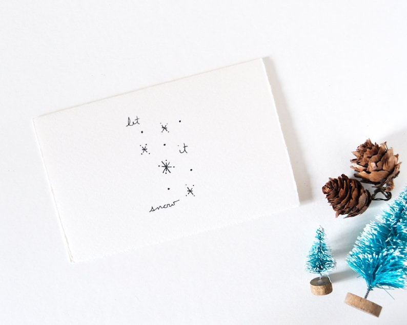 Simple Christmas Card  Winter Snow Drawing  Let it Snow image 0