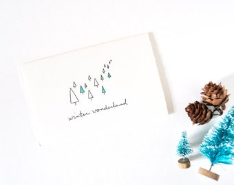 Simple Christmas Card - Winter Forest Drawing - Winter Wonderland