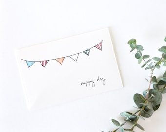 Cute Bunting Birthday Card - Simple Party Invitation - Happy Day Bunting