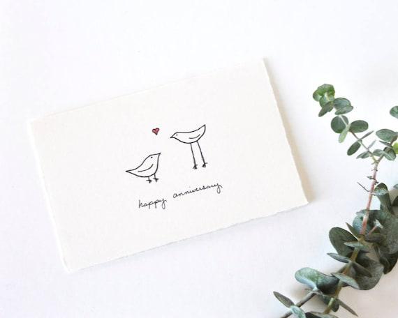 Cute Anniversary Card Simple Love Birds Drawing Happy Etsy