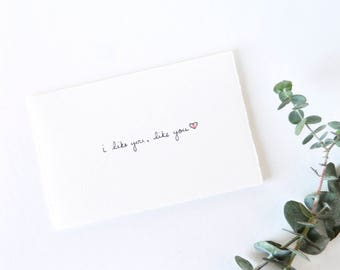 Simple Valentine's Day Card - Cute Heart - I Like You, Like You