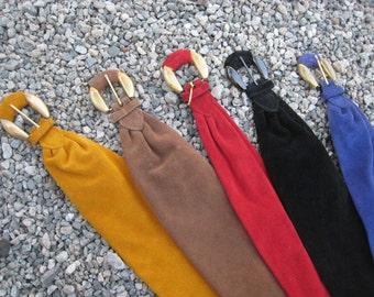 SALE was 26 now 18 per belt! Vintage 1980s Suede Pellateri Grosgrain Lined Belts in 5 Colors