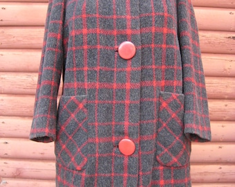 Beautiful Vintage Charcoal Grey and Red Plaid Wool Coat