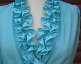 Vintage Mint Blue Ruffled Polyester Signor of California Dress NOS