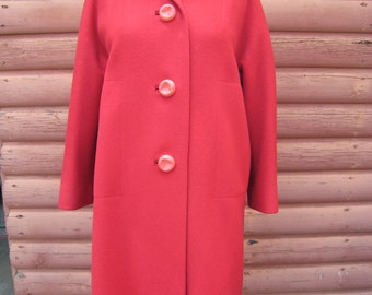 Gorgeous 100% Wool Red Coat with Beautiful Sculpted Buttons by Kingsley