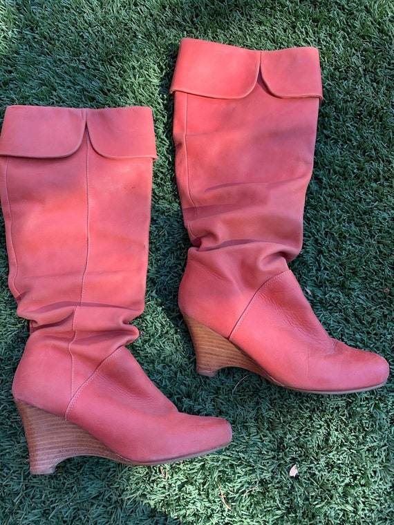 Funky 1980s Slouchy Style Pink Boots from Naughty