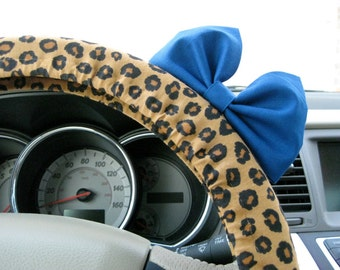 Steering Wheel Cover Bow - Leopard Print Steering Wheel Cover with Blue Bow BF11118