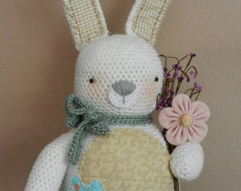 Ready to SHIP!/Crocheted Easter Bunny/Country Rabbit/Primitive Decor/Easter Prim