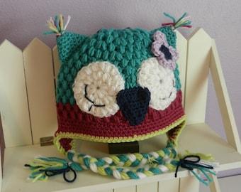 Ready to SHIP/Crochet Owl Hat/Size 1-3T/Crochet Woodland/Girls Hat/Photo prop