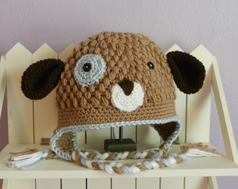 Ready to SHIP/Crochet Puppy Hat/Size 1-3T/Crochet Dog/Boys Hat/Photo prop