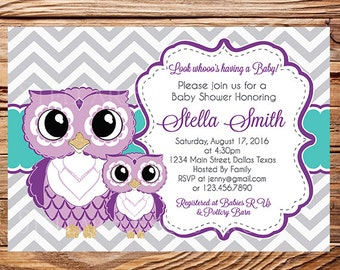 Owl baby shower invitation etsy purple owls baby shower invitation purple and teal cute owls baby shower invite girl boy purple gray teal chevron stripes 1619 filmwisefo