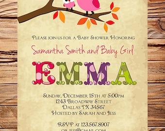Owl Baby Shower Invitation, Baby Shower Invite, Girl, Whimsical, Pink, Baby shower boy Owl, 1449