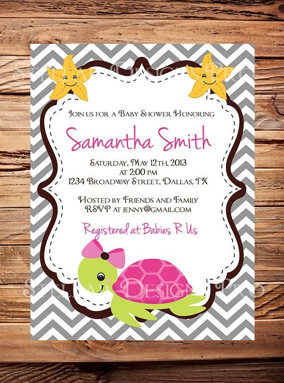 Tortuga bebé ducha invitación Baby Shower tortuga rosado   Etsy