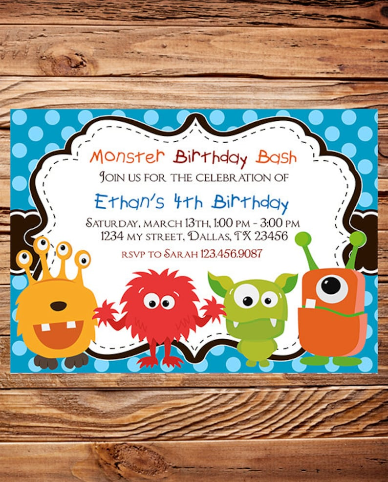 Monsters Birthday Party Invitation BOY GIRL Polka Dot