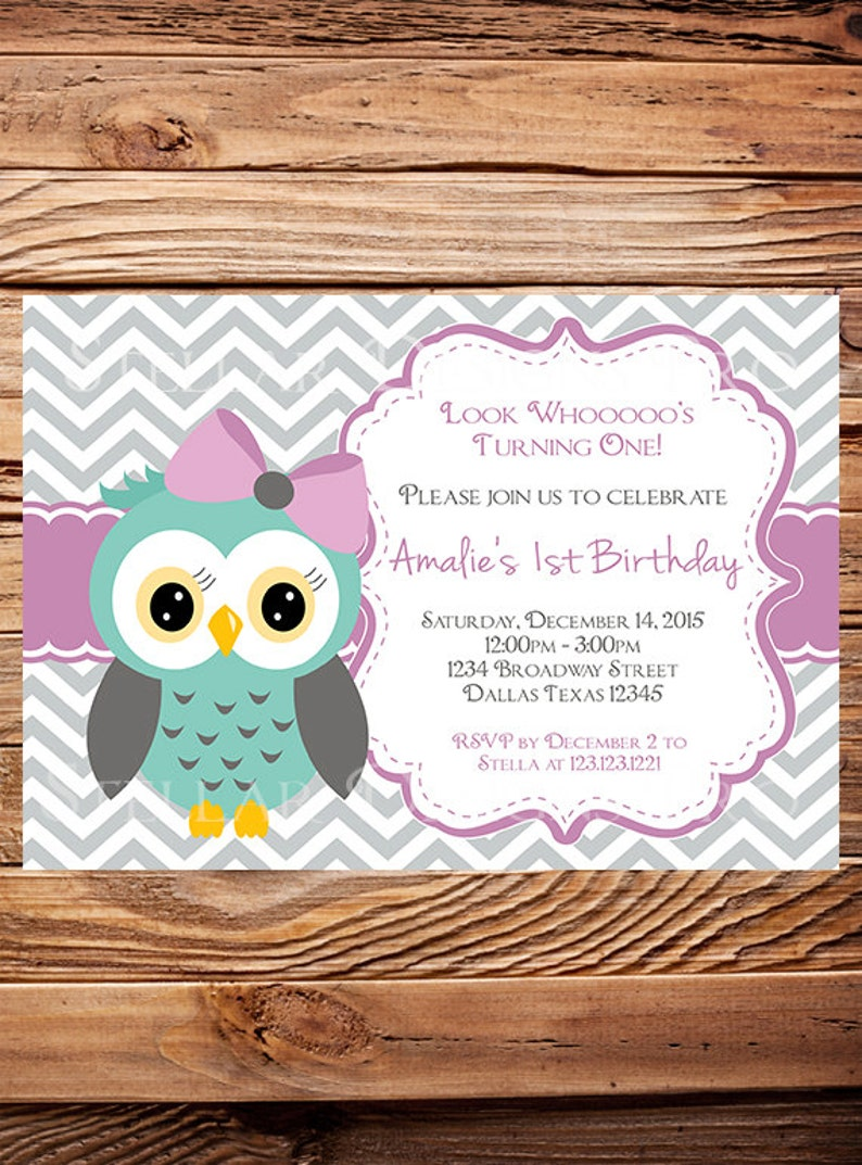 Owl Birthday Invitation Girl Invite Boy