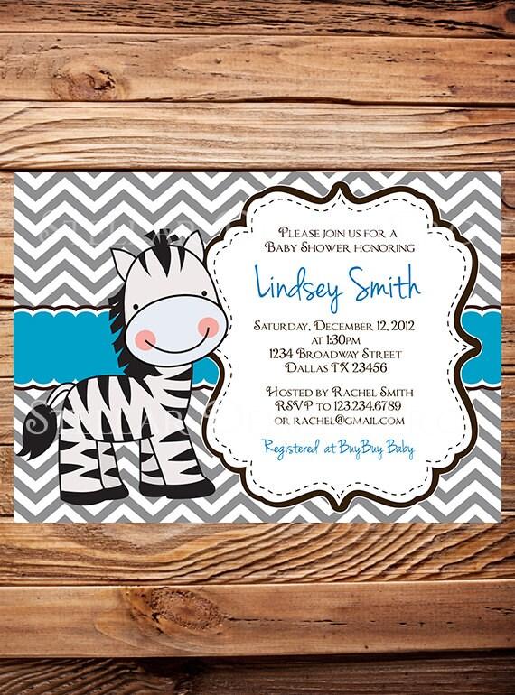 Items similar to Zebra Baby shower Invitation Girl, Boy ...