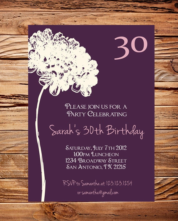 30th Birthday Invite 40th 50th Adult Flower