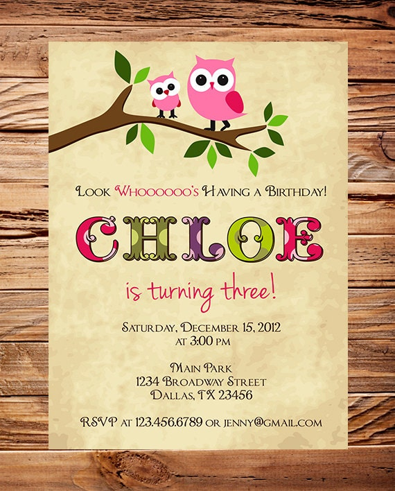 Owl Birthday Invitation Birthday Invitation Owl Girl Etsy