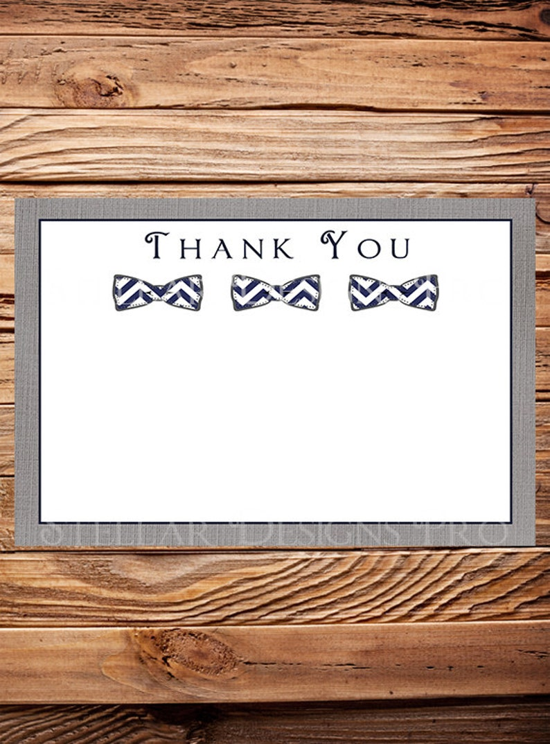 Navy Bowtie Thank You Card - INSTANT Download - 4x6, Navy, Bow tie, Linen,  Gray, Thank you, 1 PDF and 1 JPEG, 1349