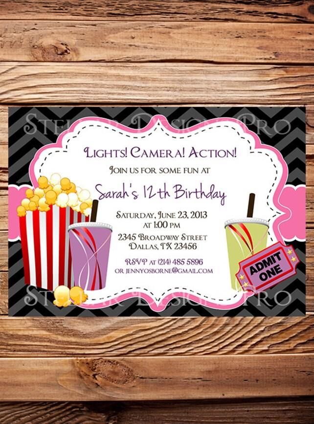 Zebra Movie Night Birthday Party Invitation Chevron Stripes GIRL Kids Invite Y83