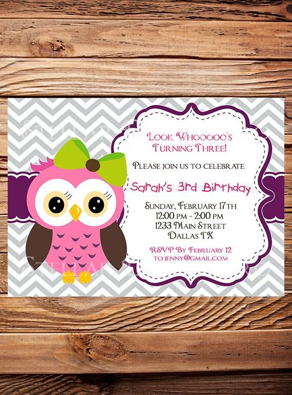 Owl birthday invitation girl birthday invite owl boy etsy image 0 filmwisefo