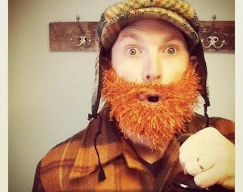 Fuzzy Beard In ORANGE Hand Crochet, Handmade Beard and Mustache Only - Use With Any Beanie, men beard beanie, ginger beard, costume beard