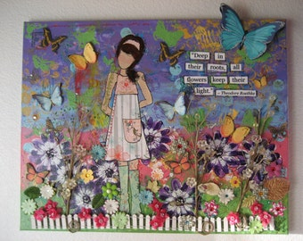 Spring Painting, Large Painting, Original Painting, Mixed Media Canvas, Mixed Media Art, Girl Art, Flower Art, Colorful Flowers, Mixed Media