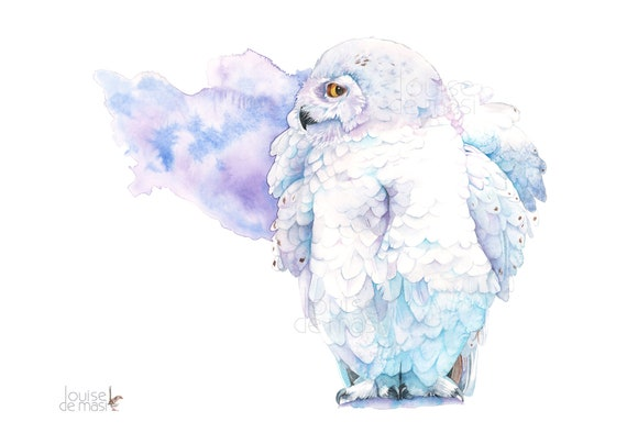 Snowy Owl Print of watercolour painting, 5 by 7 size, SO102019, Snowy Owl watercolour painting print, Bird wall art print