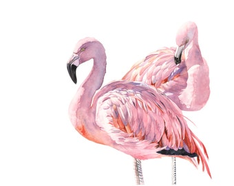 Flamingo Print of watercolour painting 5 by 7 size smallest print - F3815 wall art print - bird art print
