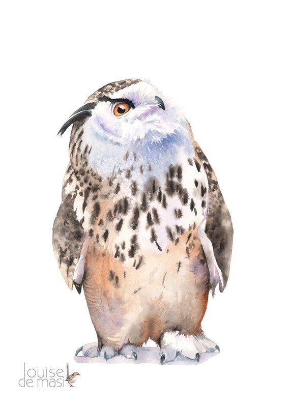 Eagle Owl Watercolour painting print, print Eagle Owl, Print Owl, Watercolour Owl, watercolor owl, woodland animal print, 5 by 7, EO9016