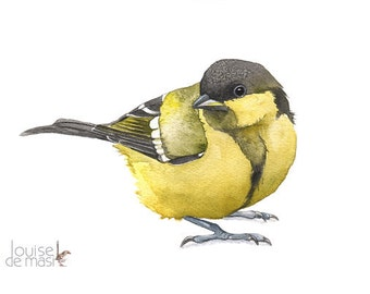 Great Tit original watercolor painting, Great tit painting original. Original bird painting, Original bird watercolor painting