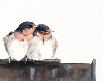 Welcome Swallows Painting -  Print of watercolor painting A4, bird art, wall art, home decor