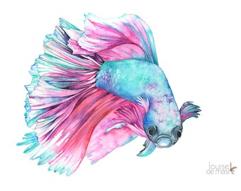 Fighting Fish Print of watercolor painting, FF18717, A4 size, Fighting Fish watercolor, Siamese Fighting Fish Watercolour painting print