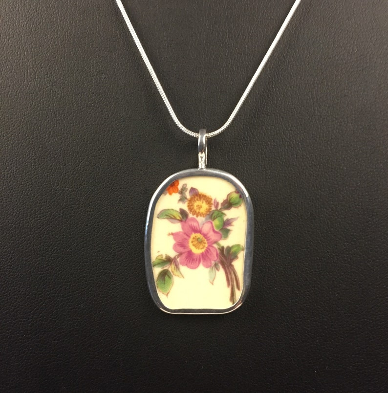 Broken China Jewelry Sterling Sliver Pendant OOAK,Flowers Multicolored