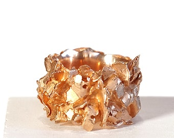 Red Gold plated ring,Fairmined silver gold plated ring,Textured gold,Ethical jewelry,Fair-trade silver Gold plated,Contemporary,Fair Jewel,