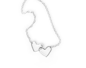 2 hearts necklace etsy silver two hearts necklace 2 hearts necklace sterling silver double hearts connected hearts double heart necklace romantic gift aloadofball Image collections